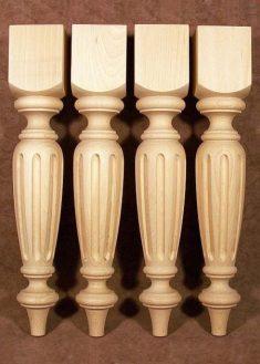 Tischbeine Holz mit breiten Nuten in der Mitte, Buche, TL37