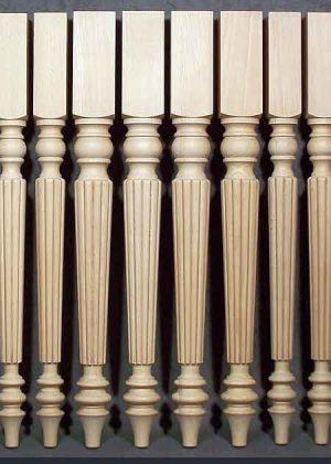 Tischbeine Holz, gefraest, 034