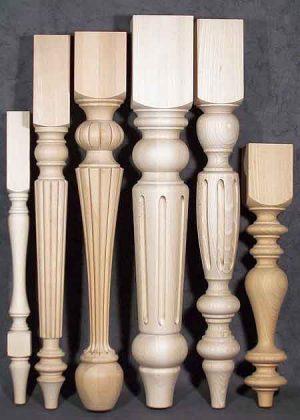 Tischbeine aus Holz mit kleinem und grossem Durchmesser, 032