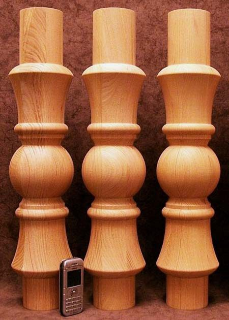 Tischbeine Holz mit Kugeldekoration, TL21