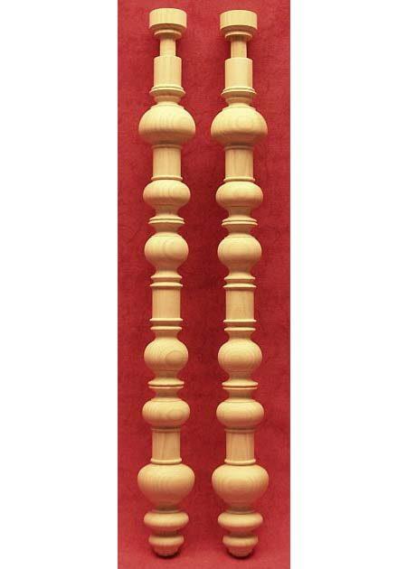 Tischbeine Holz mit Kugeln und Nuten dekoriert, TL67