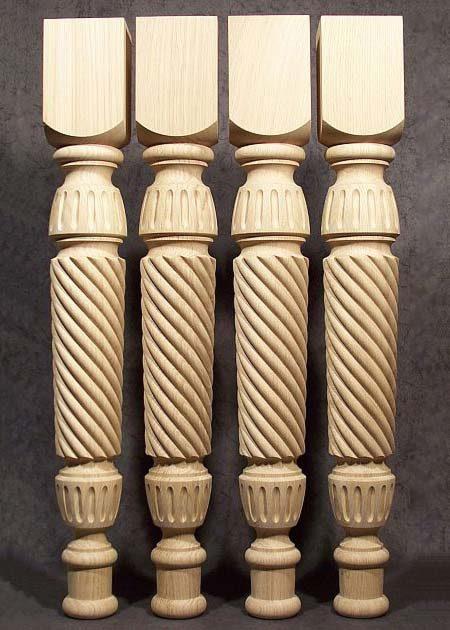 Tischbeine Holz mit Seilgeflecht-Motiven, TL19