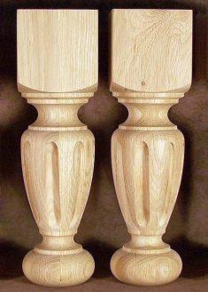Tischbeine Holz mit breiten Nuten, Eiche, TL36