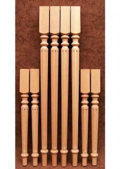 Tischbeine Holz mit dichten Nuten dekoriert, TL06