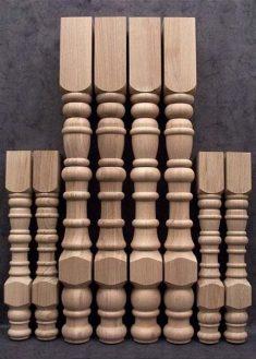 Tischbeine Holz mit dichter, gefraester Ringdekoration, TL11