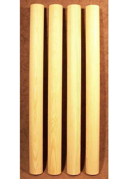 Tischbeine Holz mit einfachen, walzenfoermigen Motiven, Kiefer, TL47
