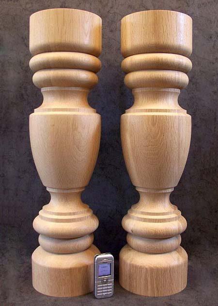 Tischbeine Holz mit walzenfoermigen unteren und oberen Teilen, TL23
