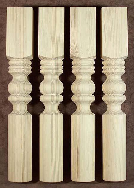 Tischbeine Holz mit walzenfoermiger Endung, Kiefer, TL53