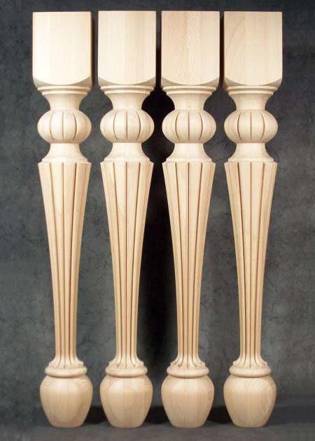 Tischbeine Holz mit wunderschoenen bogenfoermigen Motiven,TL51