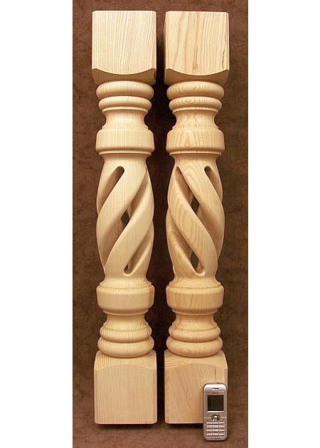 Tischbeine aus Holz mit loechrigem Mittelteil, aus Esche, TL15