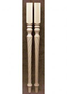 Tischbeine aus Holz mit spiralgefraestem unteren Teil, TL25