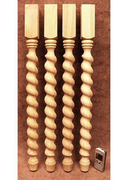 Tischbeine aus Holz, spiralgedrehte Motive, Eiche, TL42